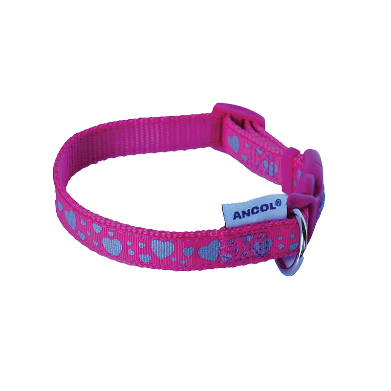 Ancol Dog Collar Pink with White Hearts