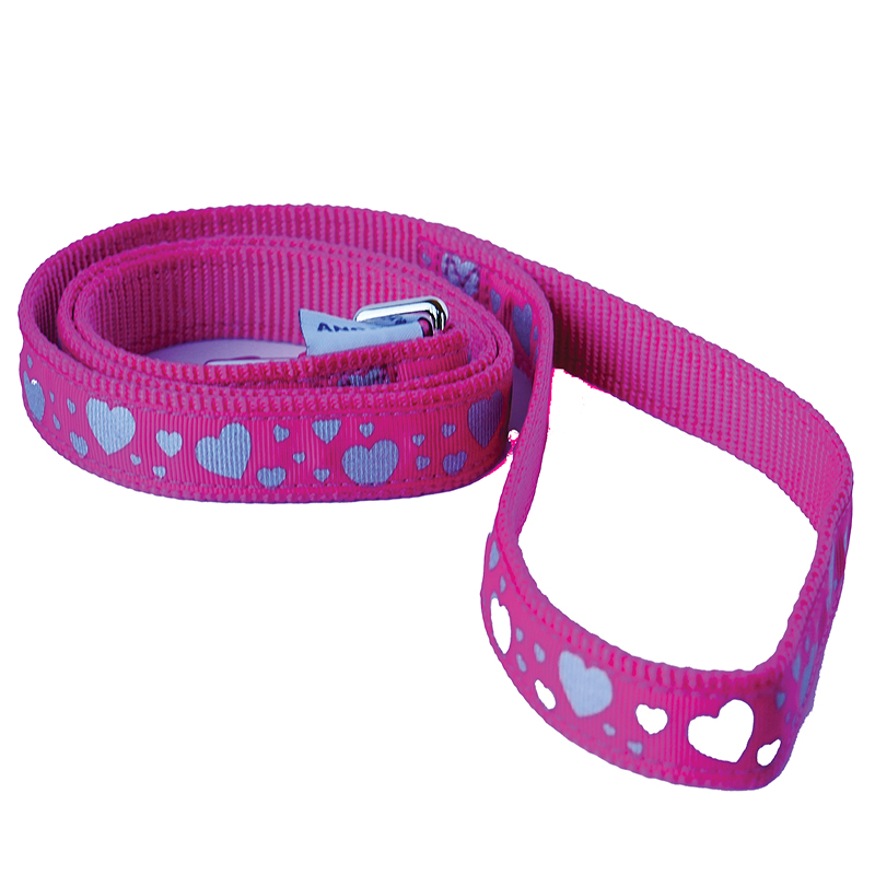 Ancol Dog Lead Pink with White Hearts