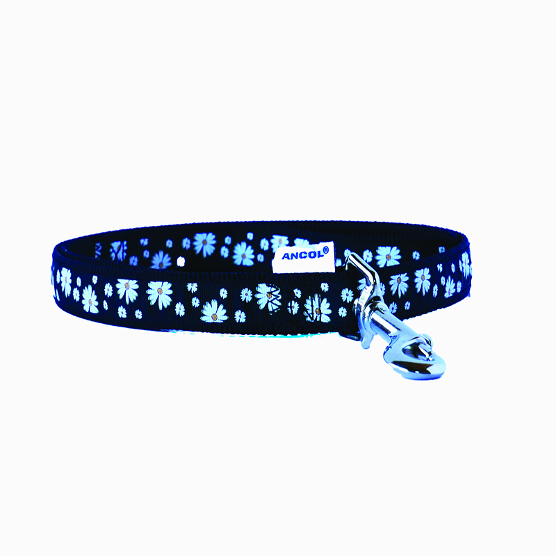 Ancol Dog Lead Black with White Daisy