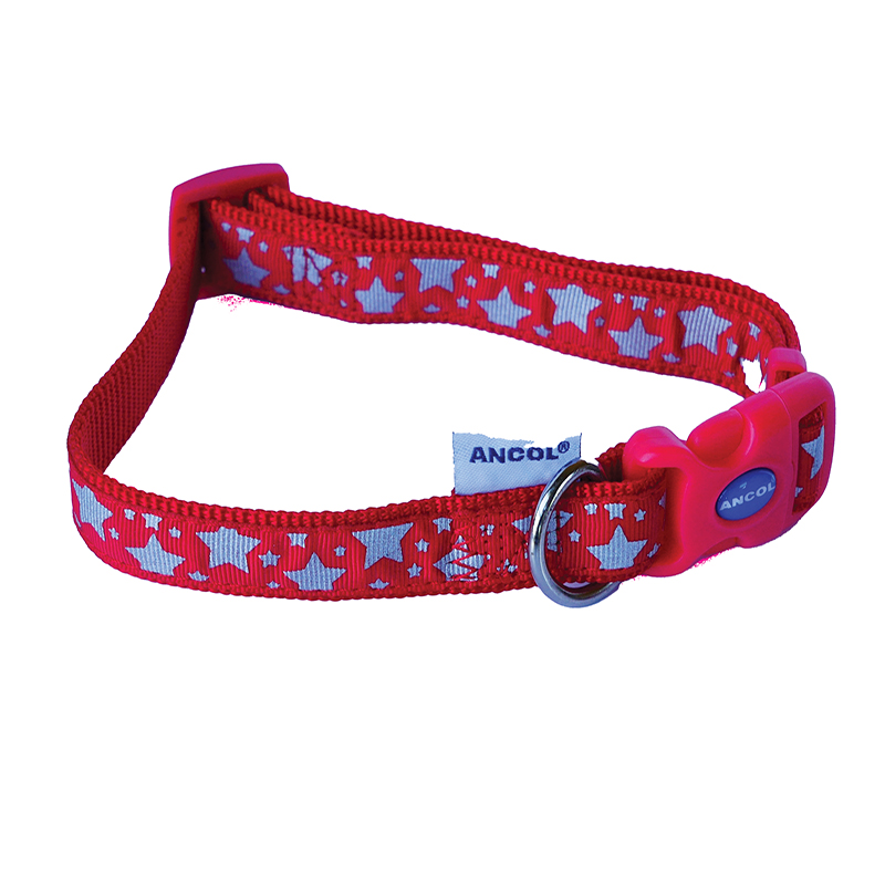 Ancol Dog Collar Red with White Stars