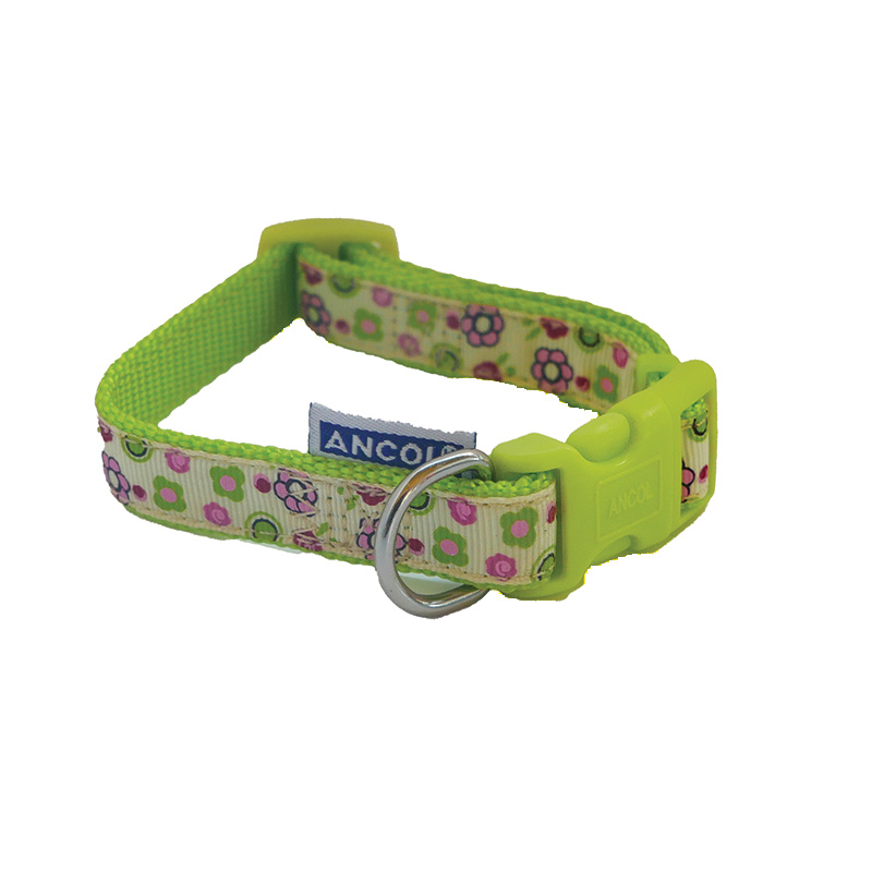 Ancol Dog Collar Green with Flowers
