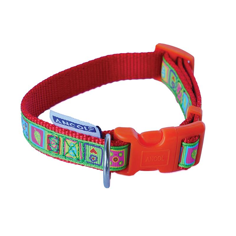 Ancol Orange Dog Collar with Mosaic Pattern