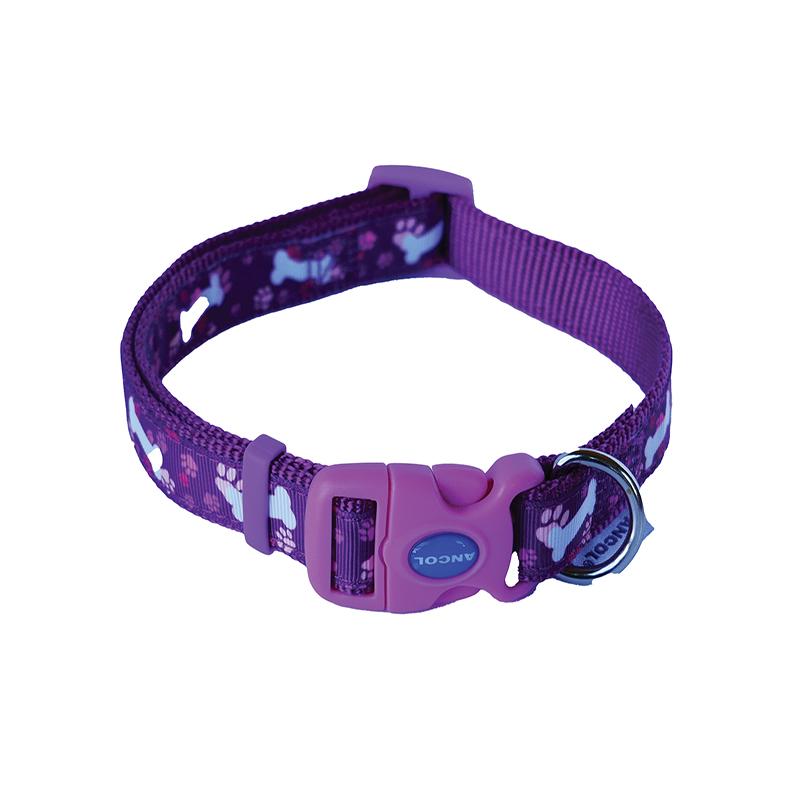 Ancol Dog Collar Purple with White Bones