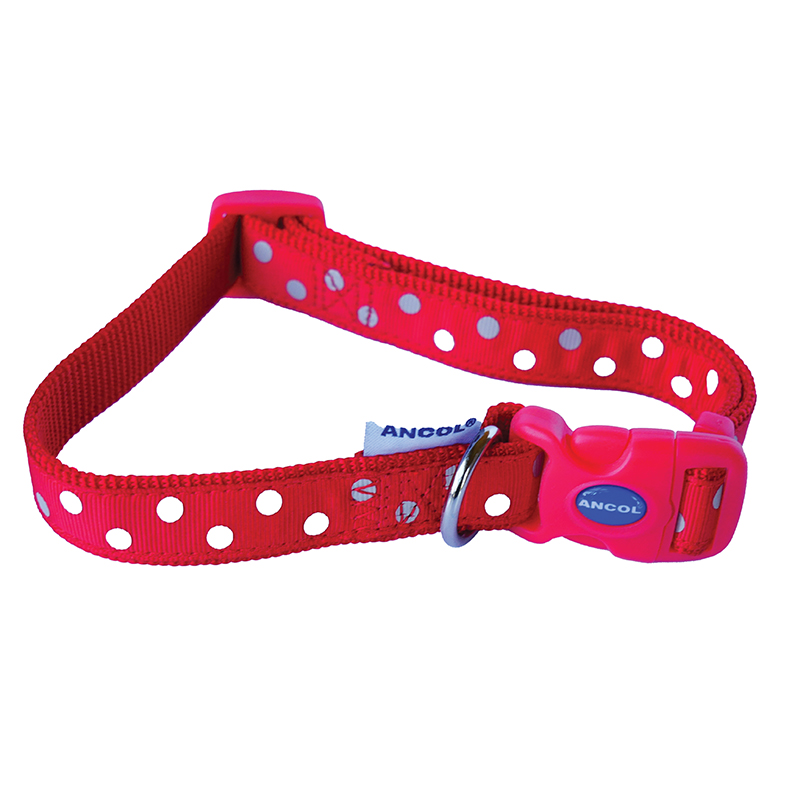 Ancol Dog Lead Red With White Polka Dots