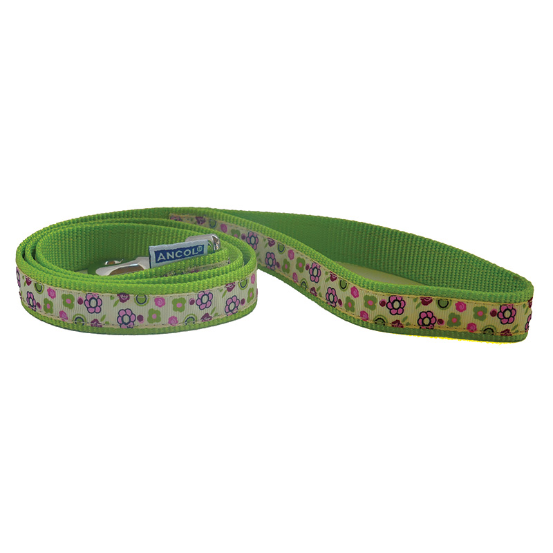 Ancol Dog Lead Green with Flowers