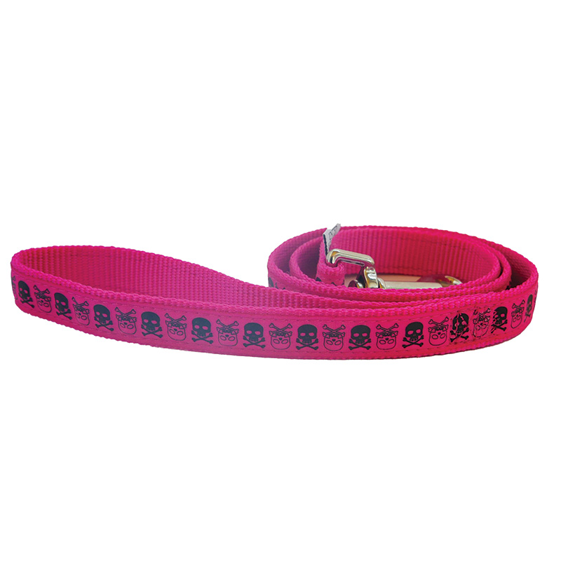 Ancol Dog Lead Pink with Black Skulls