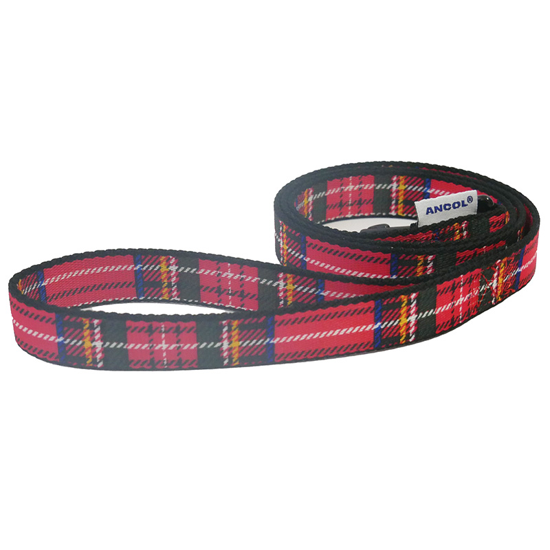 Ancol Dog Lead Red Tartan Pattern