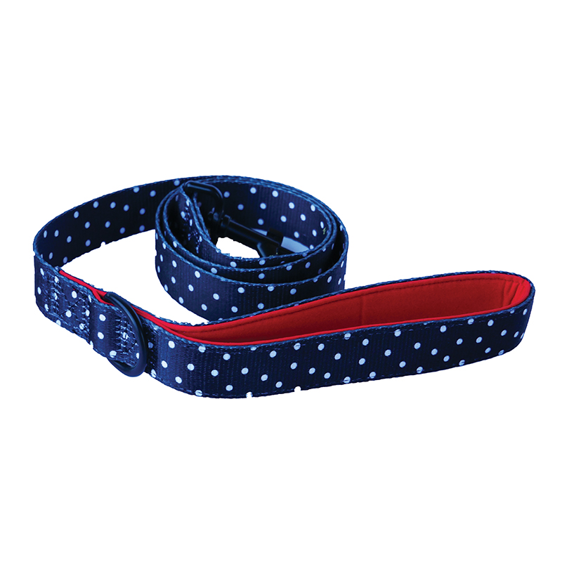 Dogfatherz Dog Lead Black & Red with White Polka Dots