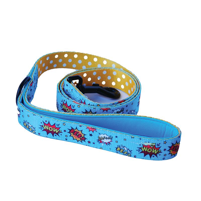 Dogfatherz Dog Lead Blue WOW Design