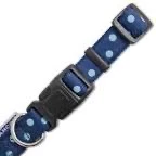 Ancol Vintage Polka Dot Dog Collar NAVY BLUE